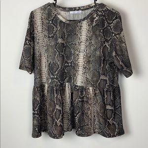 Zara Trafaluc Snakeskin Print Blouse Size M